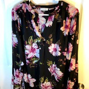XL Calvin Klein long sleeved floral blouse